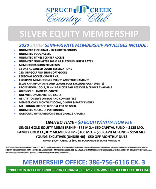 Spruce Creek Country Club Memberships